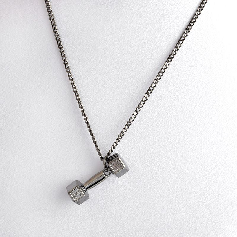 statement men house necklace gunmetal dumbbell pendant of necklaces