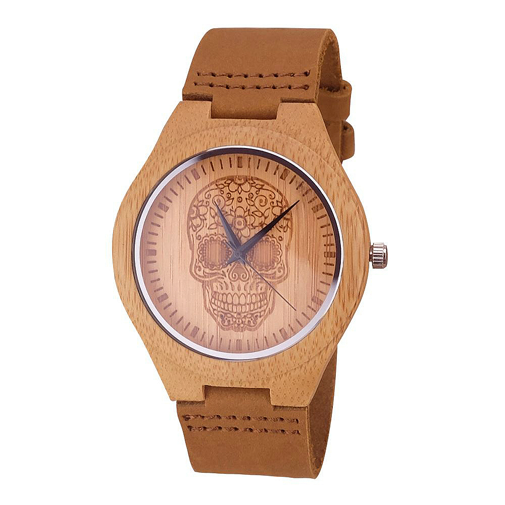 round-engraved-wooden-watch-floral-skull-main