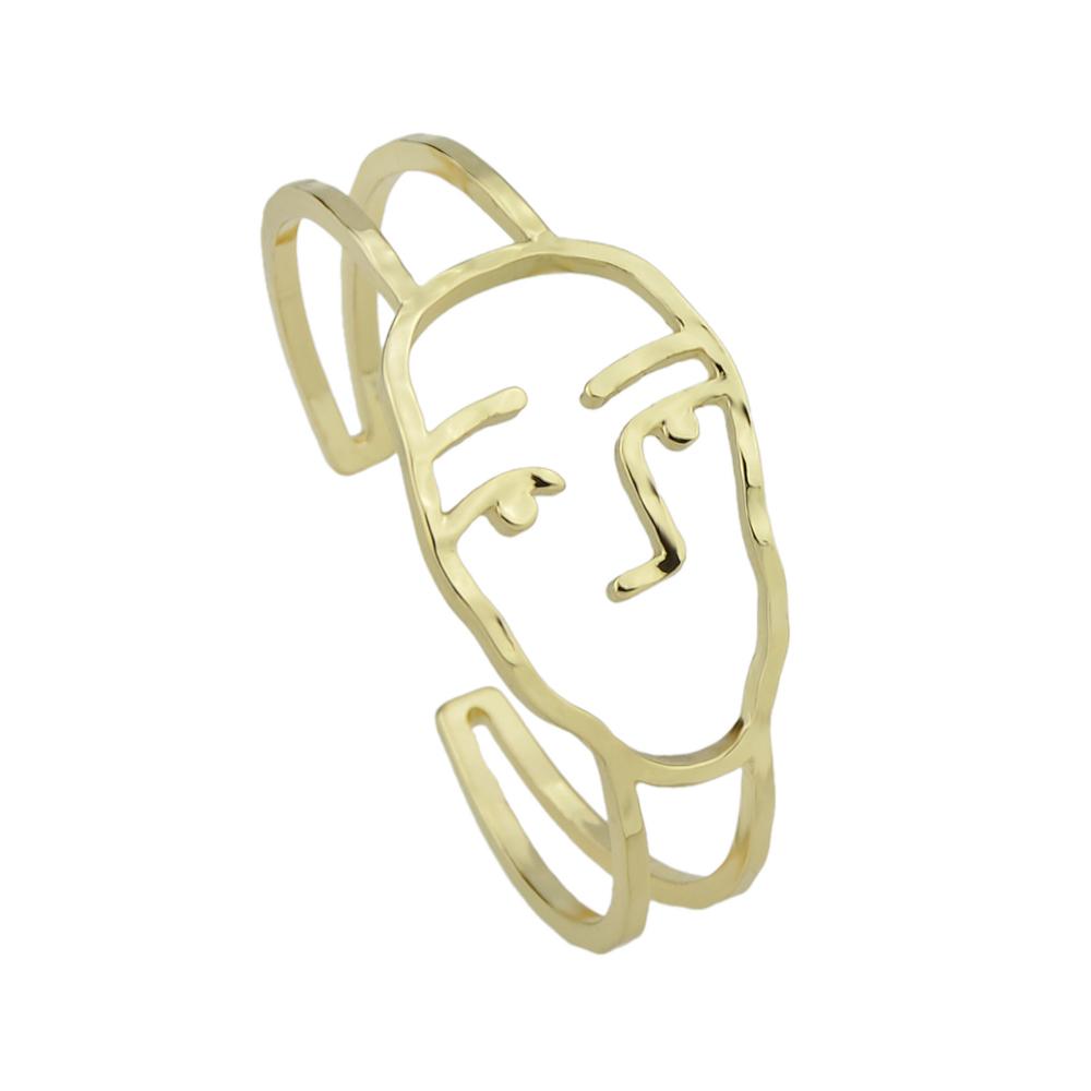drawn-face-open-bangle-bracelet-gold