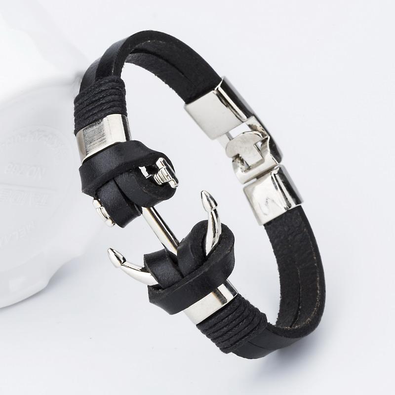 Anchor-Leather-Bracelet-black