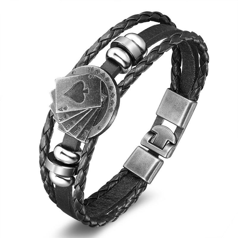 Playing-Cards-Multilayer-Leather-Bracelet-black