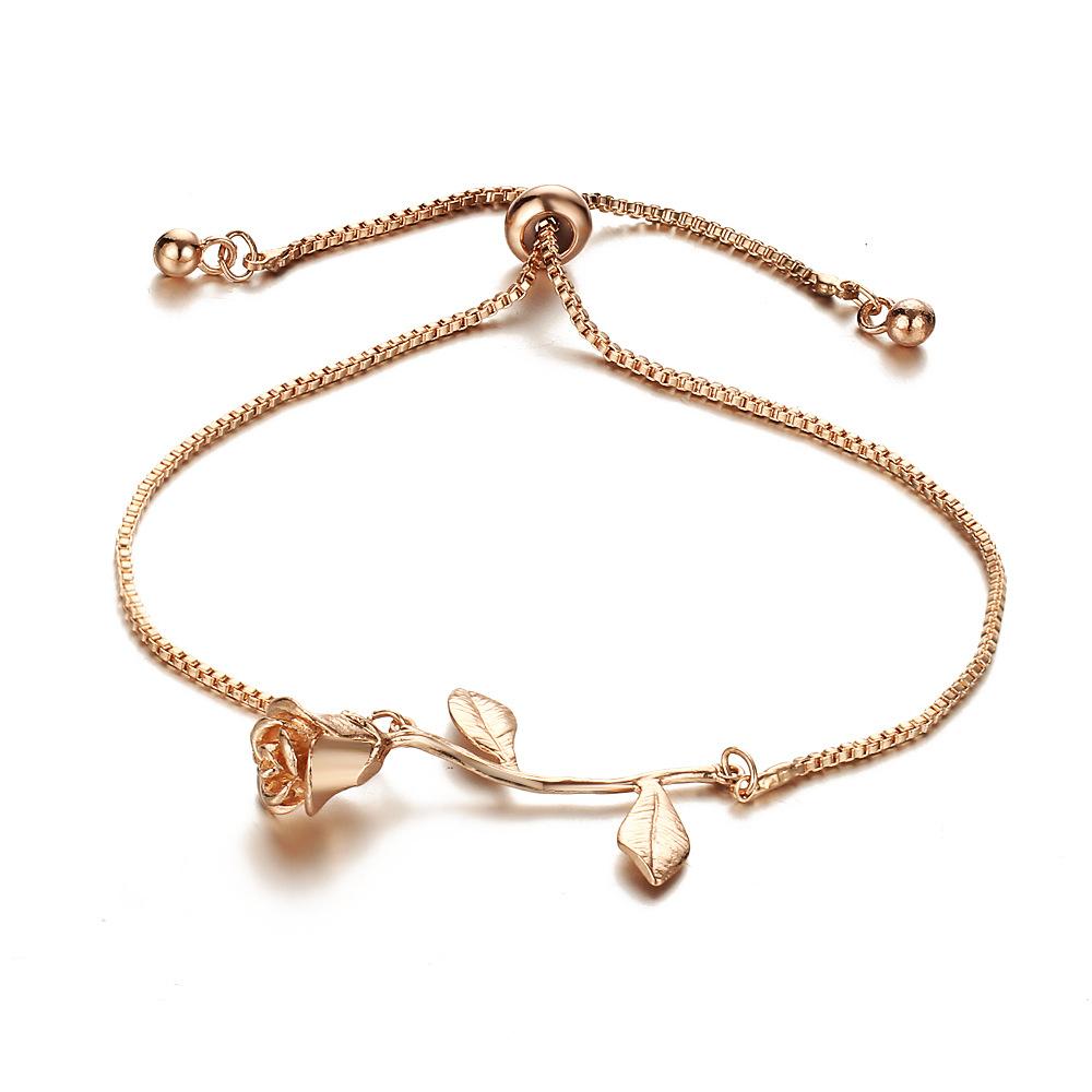 Romantic-Rose-Flower-Chain-Bracelet-Bangles-Gold-Silver-Color-Adjustable-Bracelets-For-Women-Friends-Party-JewelryRose Gold_2222